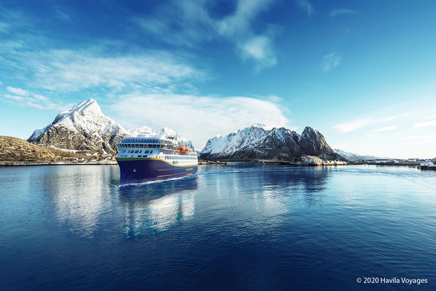 Afbeelding van Lofoten Snowy Mountains Copyright Havila Voyages